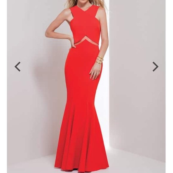 51b7de96460835 Mignon Dresses | Red Chevron Cutout Gown Nwt Prom Dress | Poshmark